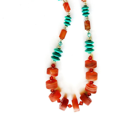 Turquoise and Carnelian Gemstone Necklace