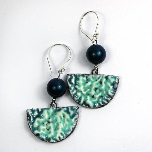 Handmade Ceramic Half Moon Earrings in Teal