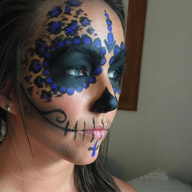Leopard print sugar skull makeup