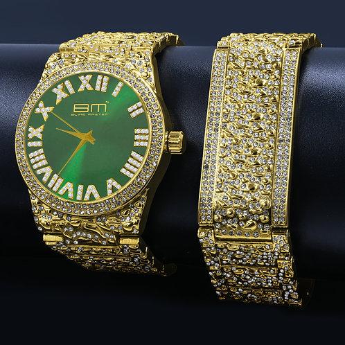 FLAMBOYANT Bling Metal Watch and Bracelet| 5302922