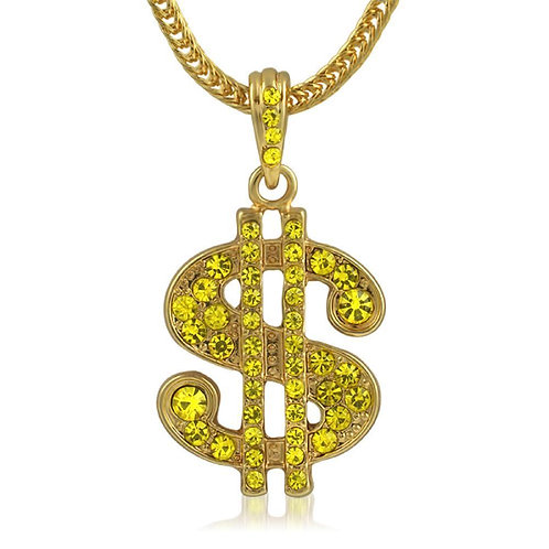 Lemonade Dollar Sign Hip Hop Pendant  Chain Small