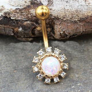 Gold Plated Dazzling Sun with Synthetic Opal Navel Ring