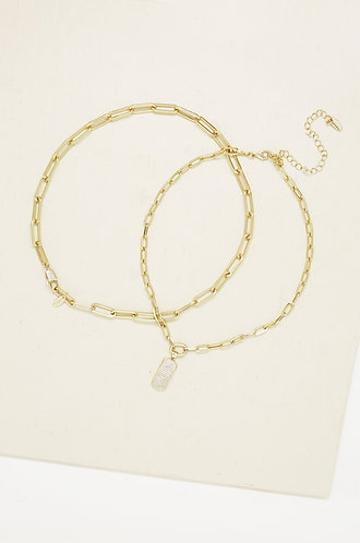 Linked Up Crystal Pendant 18k Gold Plated Layered Necklace Set