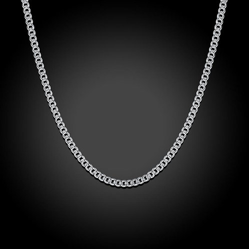 2mm Curb Chain Necklace in 18K White Gold Plated