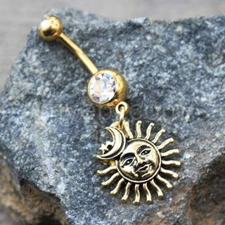 Gold Sun Moon Star Dangle Navel Ring