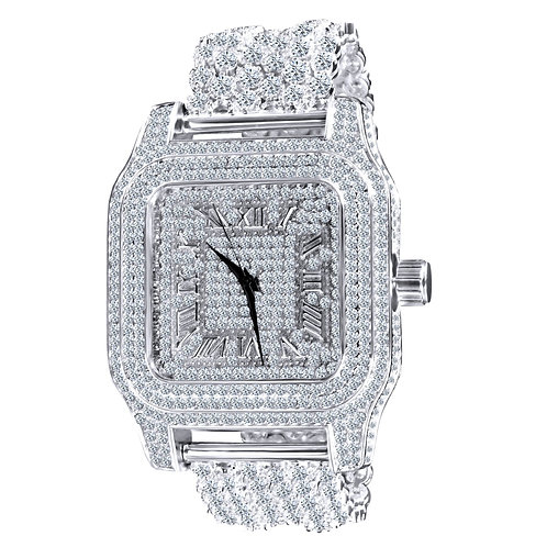 Luxury Ice Rhodium CZ Custom Metal Watch 5110121