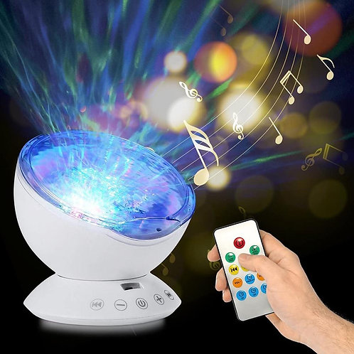 Ocean Wave Projector Light Led Night Lamp Music Player Remote Control