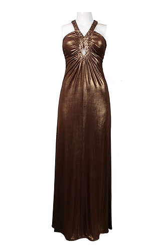 Keyhole Neckline Twisted Back Glittered Satin Dress. Fully Lined. By