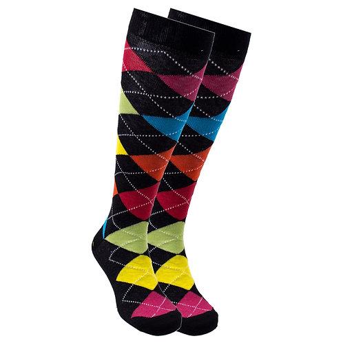 Women's Mixed Black Argyle Knee High Socks