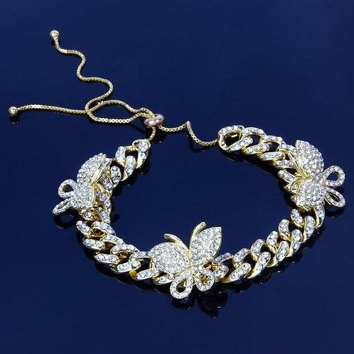 Zircon Butterfly Ankle Bracelet Cuban Link Chain Anklets For Women