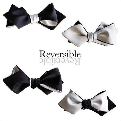 Black White Diamond Point Bow Tie