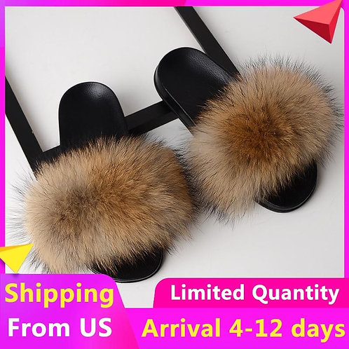 Fur Slides Women Furry Slippers House Woman Shoes Mules Home Fluffy