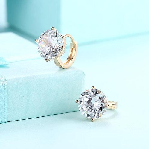 Swarovski Crystals 10mm Diamond Created Huggie  Earring