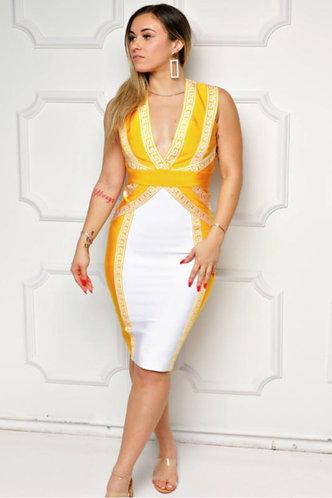 Criss Cross Bodycon Bandage Midi Dress
