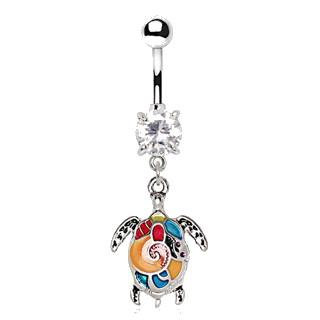 316L Stainless Steel Aloha Sea Turtle Dangle Navel Ring