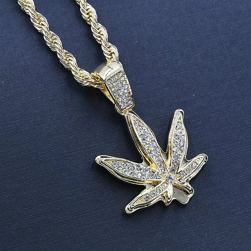 MARIJUANA LEAF CHAIN AND CHARM - HC165765