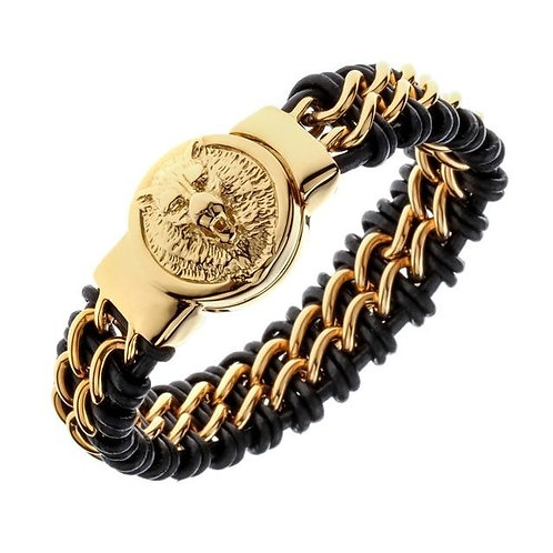 Mens black leather stainless steel gold silver color wolf chain link