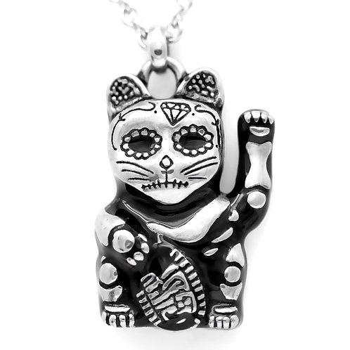 Cat Necklace Day of the Dead Maneki-Neko