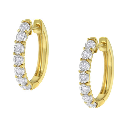 10K Two-Toned Gold 1/4ct TDW Diamond Hoop Earring