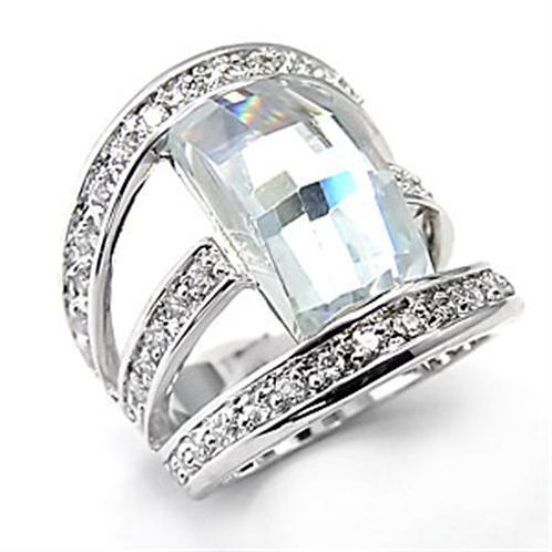 7X053 Rhodium Brass Ring with AAA Grade CZ in