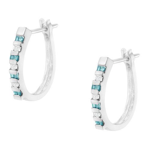 10K White Gold 1/4ct TDW Treated Blue Diamond Hoop