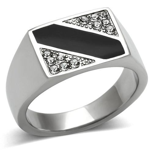 Men Stainless Steel Synthetic Crystal Rings TK387