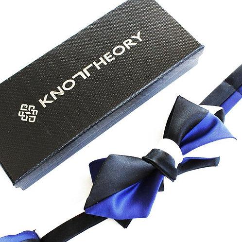 Black White Blue Diamond Point Bow Tie