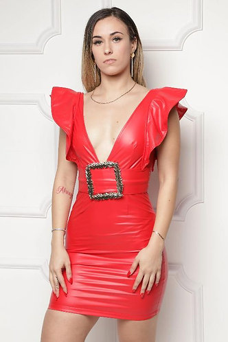 Latex Deep V-Neck Buckle Mini Dress
