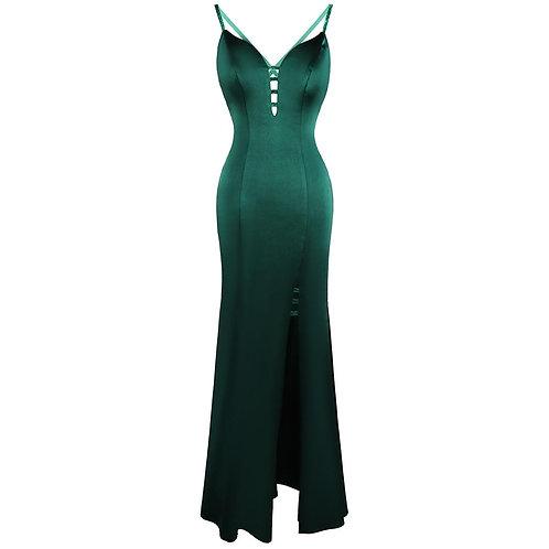 Evening Dress  V Neck Spaghetti Strap Slit Hollow Out Sexy Long