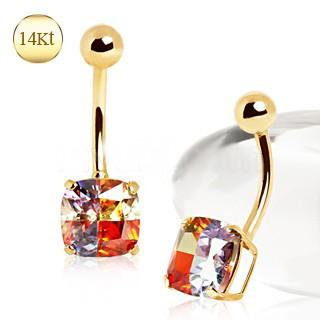 14Kt Yellow Gold Navel Ring with Miracle Cubic