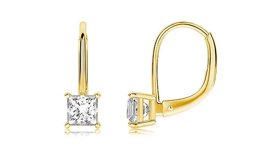 Diamond Princess Cut Leverback Earringin 18K Gold Plated