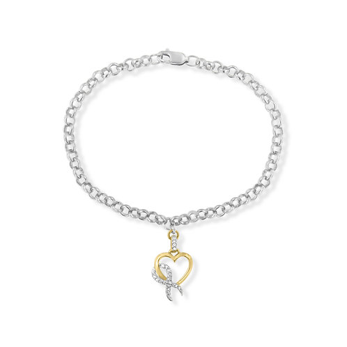 10k Yellow Gold Heart Diamond Charm 1/10 ct. TDW