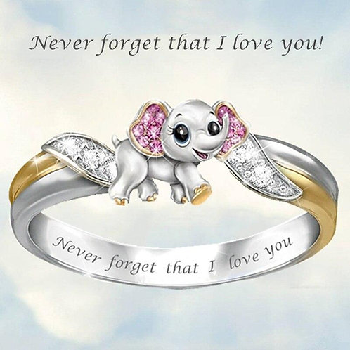 Crystal Rainbow Unicorn Ring for Women Gold Color Cute Cartoon Animal