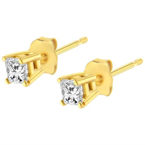 14K Yellow Gold 3/8ct. TDW Princess Diamond Stud