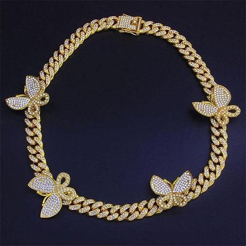 Pink Cuban Link Butterfly Choker Necklace Chain Crystal Rhinestone
