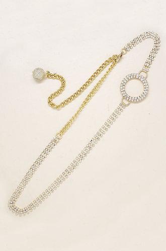 Shining Bright Crystal & Gold Circle Belt