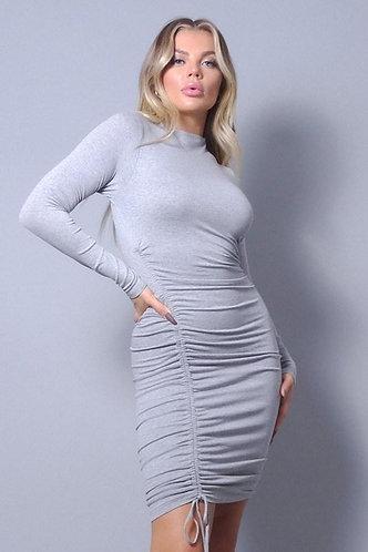 Sexy Long Sleeve Mock Neck Side Or Twist Ruching Dress