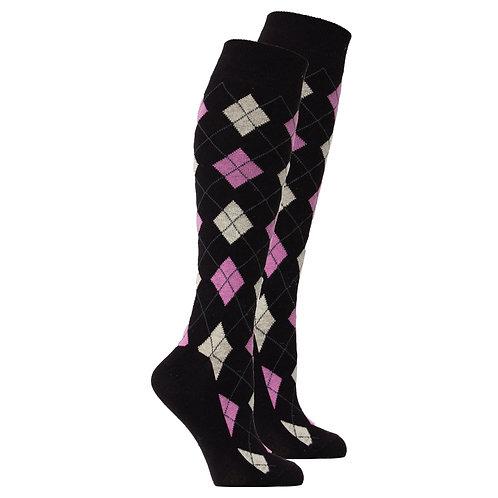 Women's Natural Black Argyle Knee High Socks