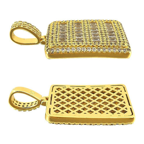 Micro Pave Baguette Dog Tag CZ Pendant in Gold