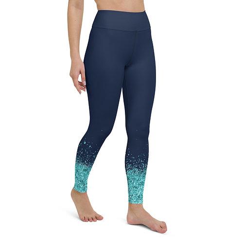 High Waist Navy Blue Glitter Leggings