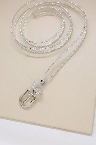 Clear Flat Belt with Crystal in Silver
