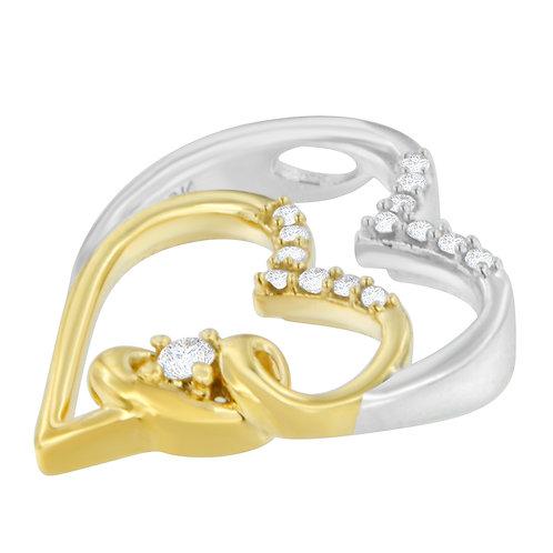 10K Two Tone Gold 1/10 ct TDW Round Cut Diamond