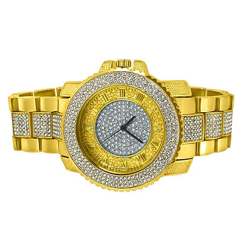 Bling Bling Gold Greek Hour Hip Hop Watch