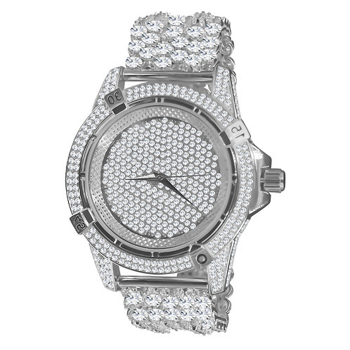 Luxury Ice Rhodium Clear CZ Iced out Watch 5110061