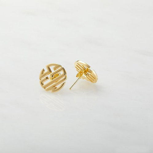 Personalized Round Monogram Stud Earrings For