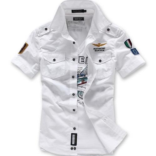 Mens Short Sleeve Military Style Shirt
