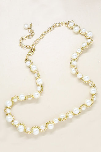 Pearl & Gold Chain Cluster Belt
