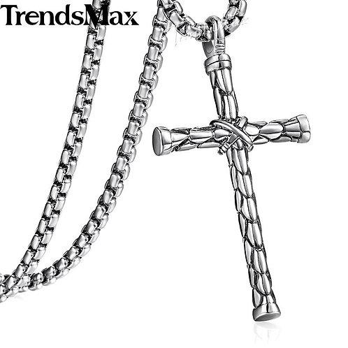 Men's Cross Necklace 22inch 316L Stainless Steel Cross Pendant