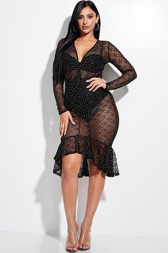 Embellished Burnout Mesh Long Sleeve Mermaid Midi Dress With Panty