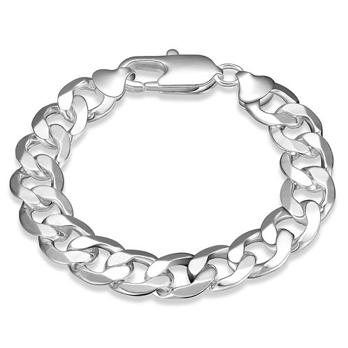 Father's Day Thick Cuban Figaro Men's Bracelet in 14K White Gold